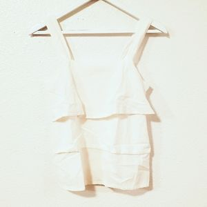 LOFT Ann Taylor White Tiered Embroidered Top
